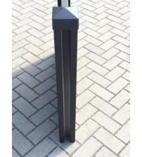 Aluminium schuttingpaal 2850x100x100 met afdekkap, zwart